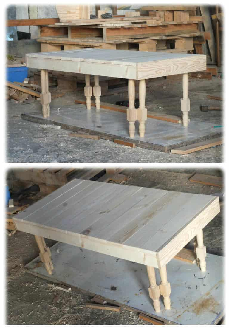 table basse en bois de palette pieds de chaises r cup r s pallet coffee table 1001 pallets. Black Bedroom Furniture Sets. Home Design Ideas