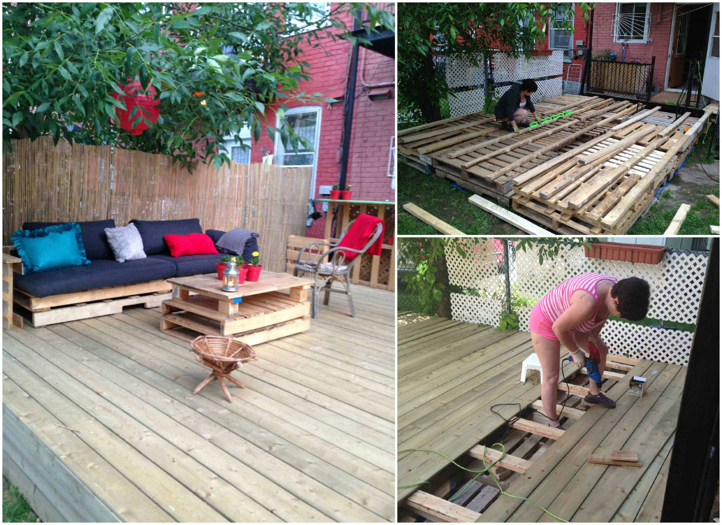 Terrasse exterieure en palettes outdoor deck made out of - Terrasse exterieur en palette ...