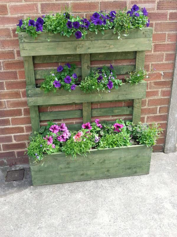 Upright Pallet Planter Stained Green Pallet Planters & Pallet Compost