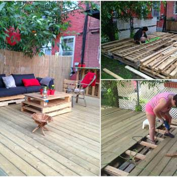 Terrasse Exterieure En Palettes / Outdoor Deck Made Out Of Pallets