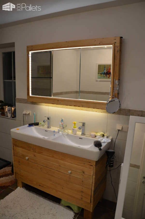 Bathroom Idea With Recycled Pallet Wood Pallet Cabinets & Wardrobes