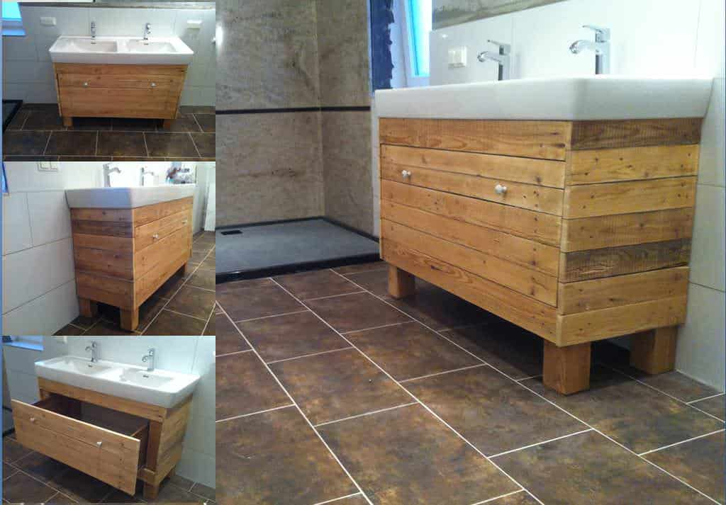 Bathroom idea with recycled pallet wood 1001 pallets for Fabriquer un meuble de salle de bain en bois