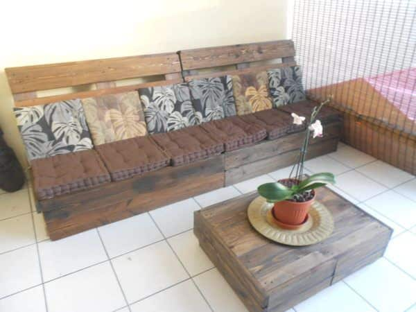 Canap table basse en palettes pallet sofa coffee - Idee table basse palette ...