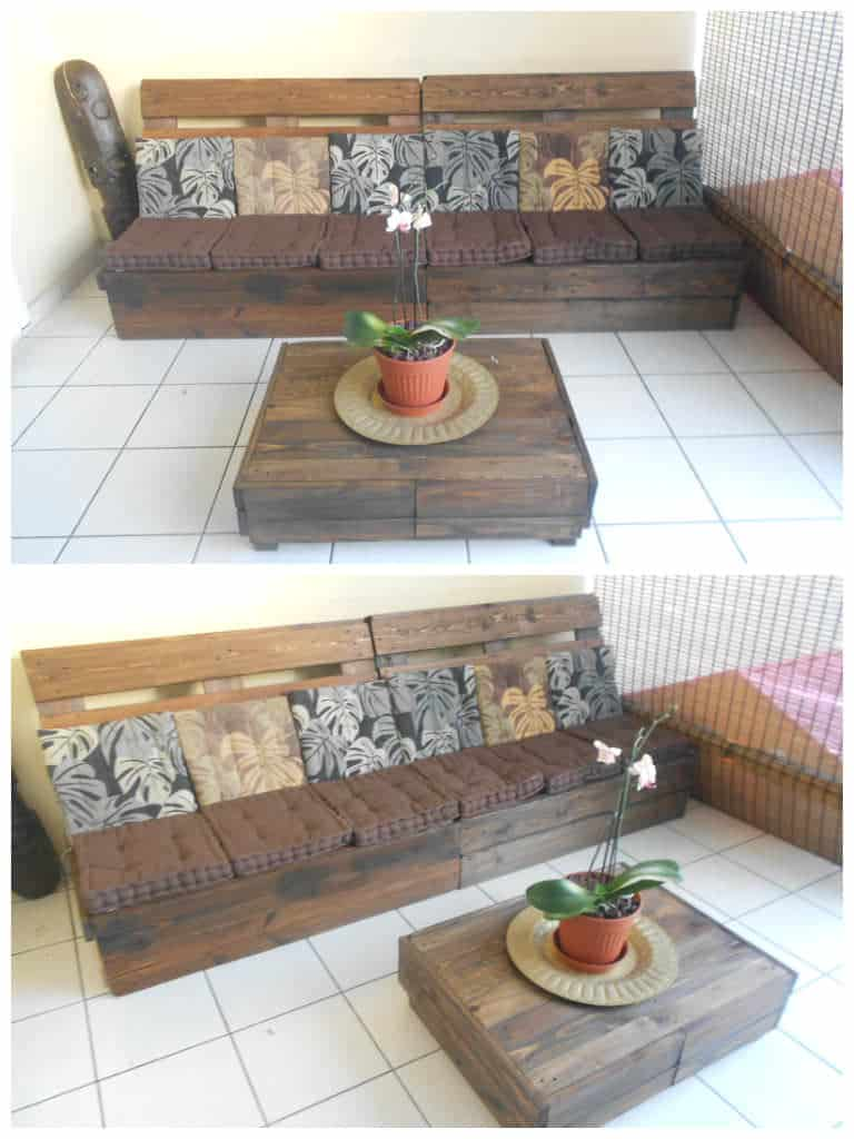 Canap table basse en palettes pallet sofa coffee for Table basse palette