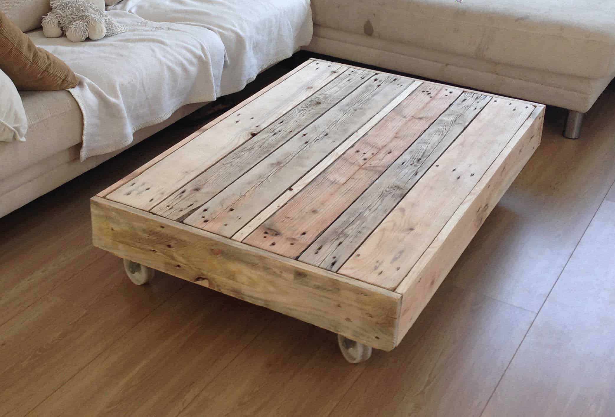 Coffee table on wheels 1001 pallets - Table basse palette industrielle ...