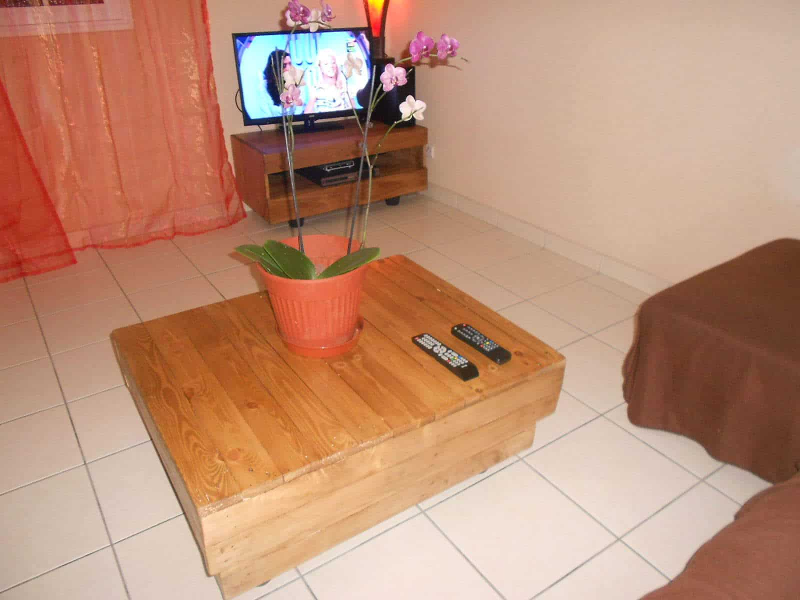 Meuble tv en palettes pallet tv stand coffee table for Meuble tele verre