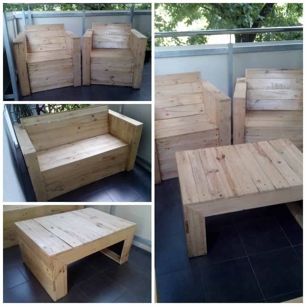 My First Project with Recycled Pallets: Bench, Chairs & Coffee ...