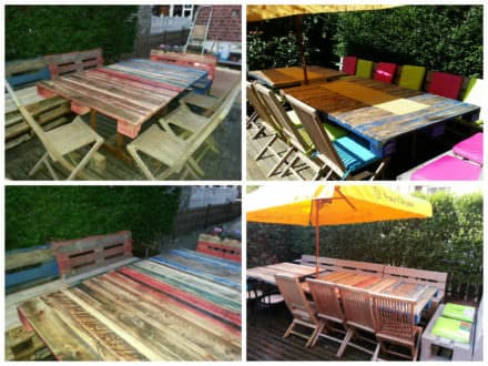 Hundreds of pallet table pallet desk ideas 1001 pallets for Table jardin beauty