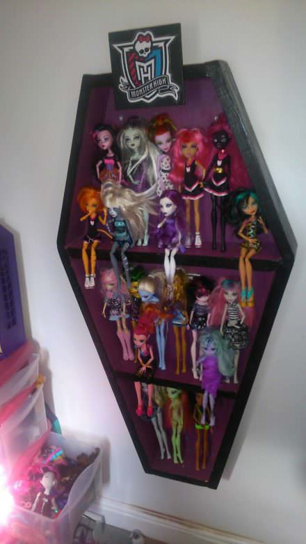 Monster High Doll Display Cabinet In The Shape Of A Coffin
