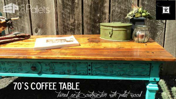 70's Coffee Table Went Southwestern Pallet Coffee Tables
