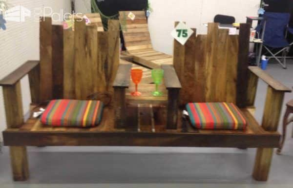 A Two-seater With Integrated Table Out Of Repurposed Pallets Pallet Benches, Pallet Chairs & Stools