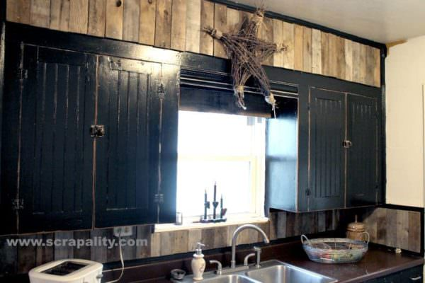 Black Chalkboard Cabinets With Pallet Board Backsplash Pallet Walls & Pallet Doors