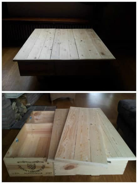 Coffee Table Made Out Of Upcycled Wine Boxes & Pallet Top