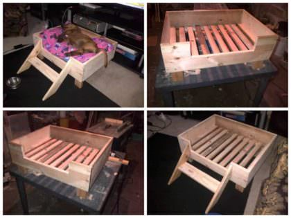 doggy pallet bed made from repurposed pallet wood 1001 pallets. Black Bedroom Furniture Sets. Home Design Ideas