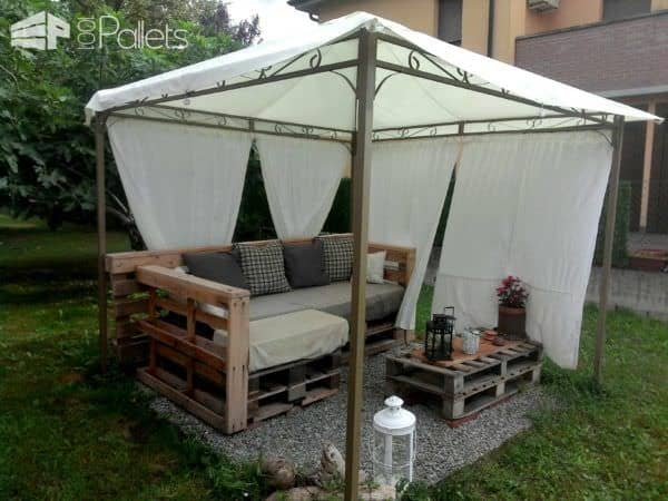 Garden couch happy hour table 1001 pallets for Wood pallet gazebo