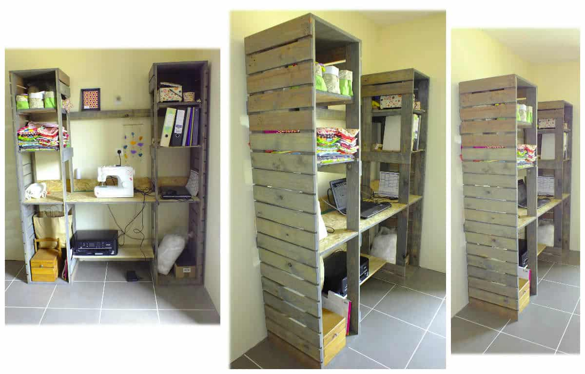 meuble de travail en bois de palette pallet desk shelves 1001 pallets. Black Bedroom Furniture Sets. Home Design Ideas