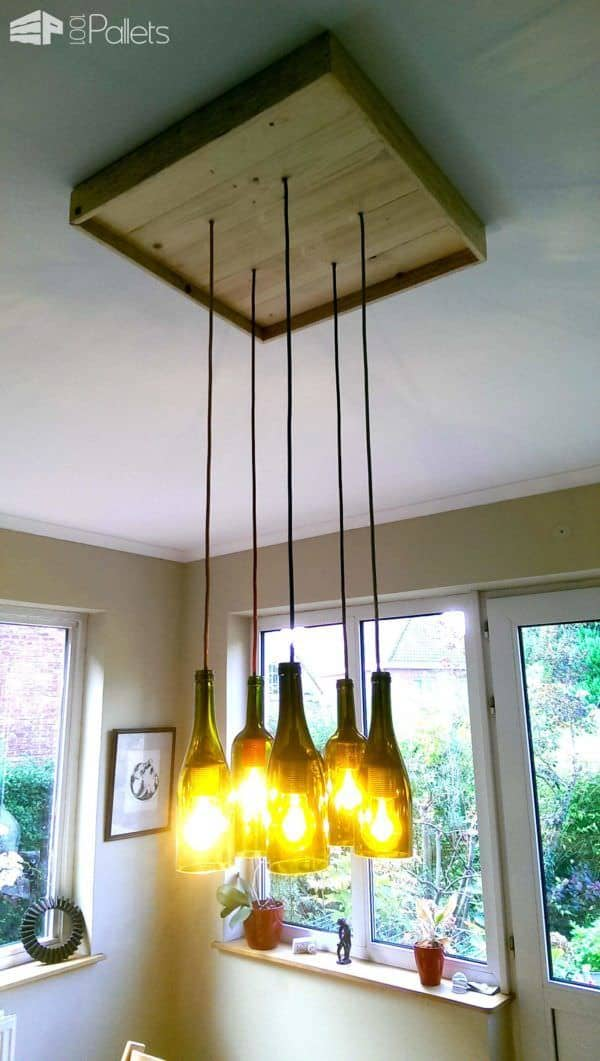Pallet & Wine Bottles Pendant Lamp Pallet Lamps & Lights