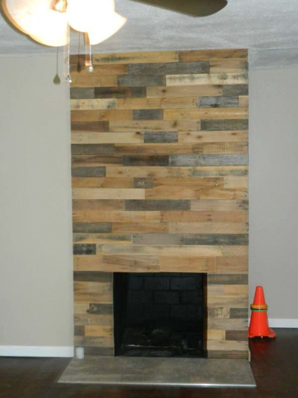 Pallet Wood Fireplace Wall 1001 Pallets