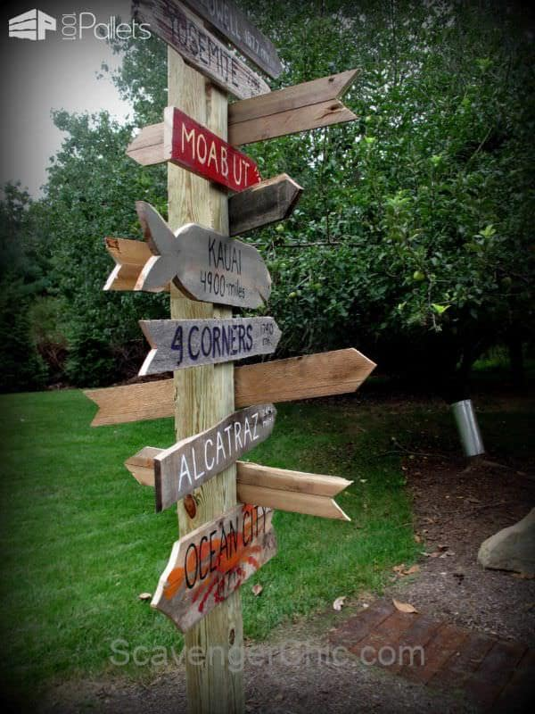 Signpost Made Out Of Pallet Wood Pallets in the Garden