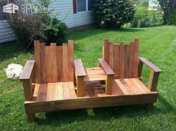 A Two-Seater With Integrated Table Out Of Repurposed Pallets Pallet Benches, Pallet Chairs & Pallet Stools