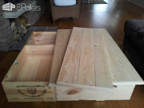 Coffee Table Made Out Of Upcycled Wine Boxes & Pallet Top Pallet Coffee Tables