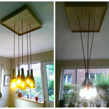 Pallet & Wine Bottles Pendant Lamp