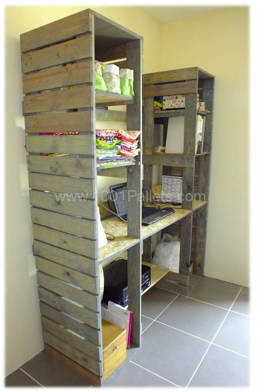 Meuble De Travail En Bois De Palette Pallet Work Table Shelves 1001 Pallets