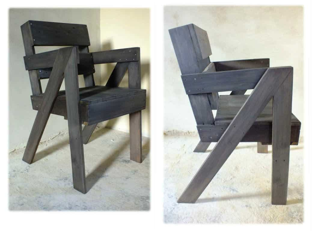 chaise en bois de palette pallet chair 1001 pallets. Black Bedroom Furniture Sets. Home Design Ideas