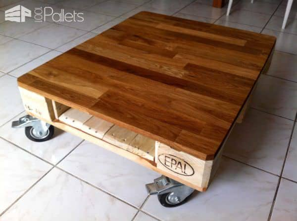 La mignonne table basse demi palette qui va bien small pallet coffee table - Fabriquer table exterieur ...