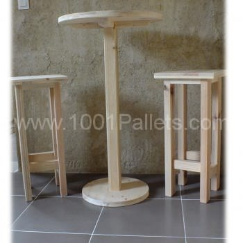 Table haute et ses 2 tabourets / Pallet Bar table and stools