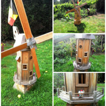 Wooden homemade garden windmill