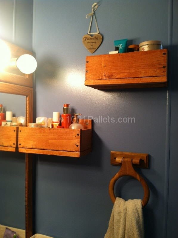Bathroom Shelves Pallet Shelves & Pallet Coat Hangers