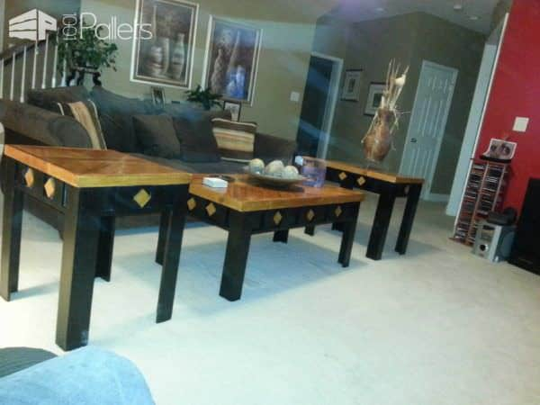 Coffee Table, End Tables & Stool Made From Pallets Pallet Coffee Tables Pallet Desks & Pallet Tables