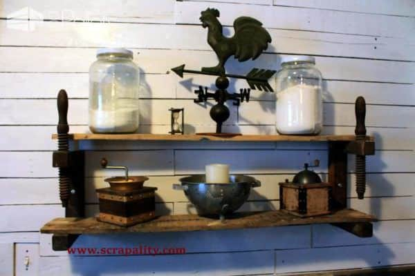 Farmstyle Pallet Wall & Wooden Clamp Shelves Using Pallet Wood Pallet Shelves & Pallet Coat Hangers Pallet Walls & Pallet Doors