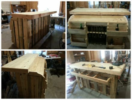 Pallet Bar With Wine Racks, Glass Holders & Lights Inside