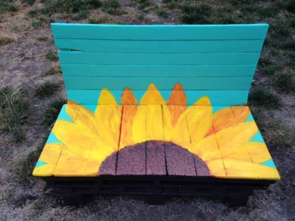Sunflower Pallet Bench Pallet Benches, Pallet Chairs & Stools