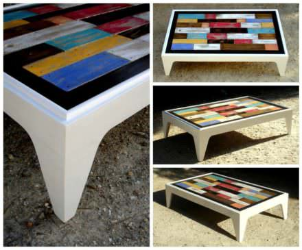 Table Basse Assemblage Chromatique De Bois De Palettes / Colored Pallet Coffee Table