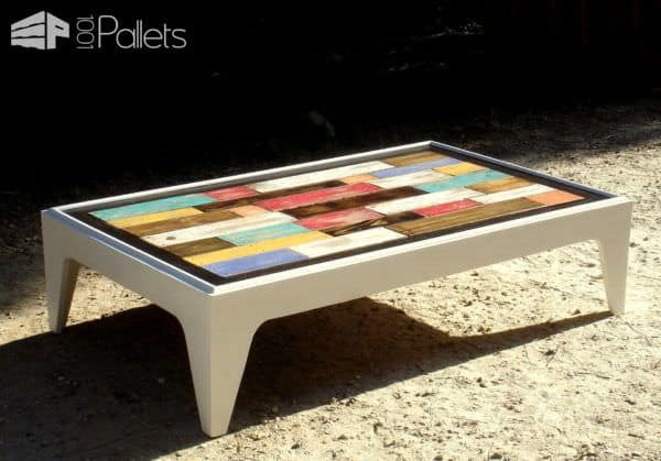 Table basse assemblage chromatique de bois de palettes colored pallet coffe - Fabrication table basse palette ...