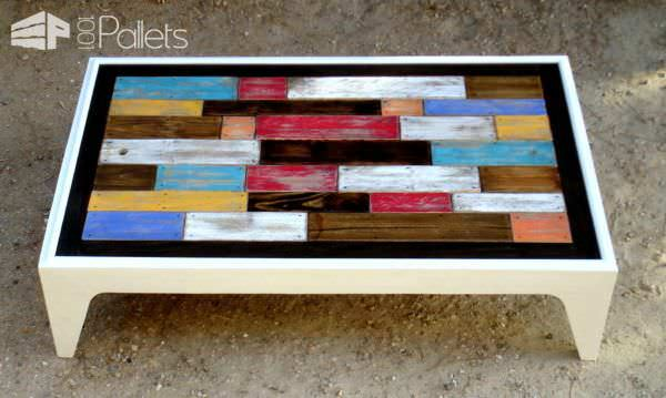 Table Basse Assemblage Chromatique De Bois De Palettes / Colored Pallet Coffee Table Pallet Coffee Tables