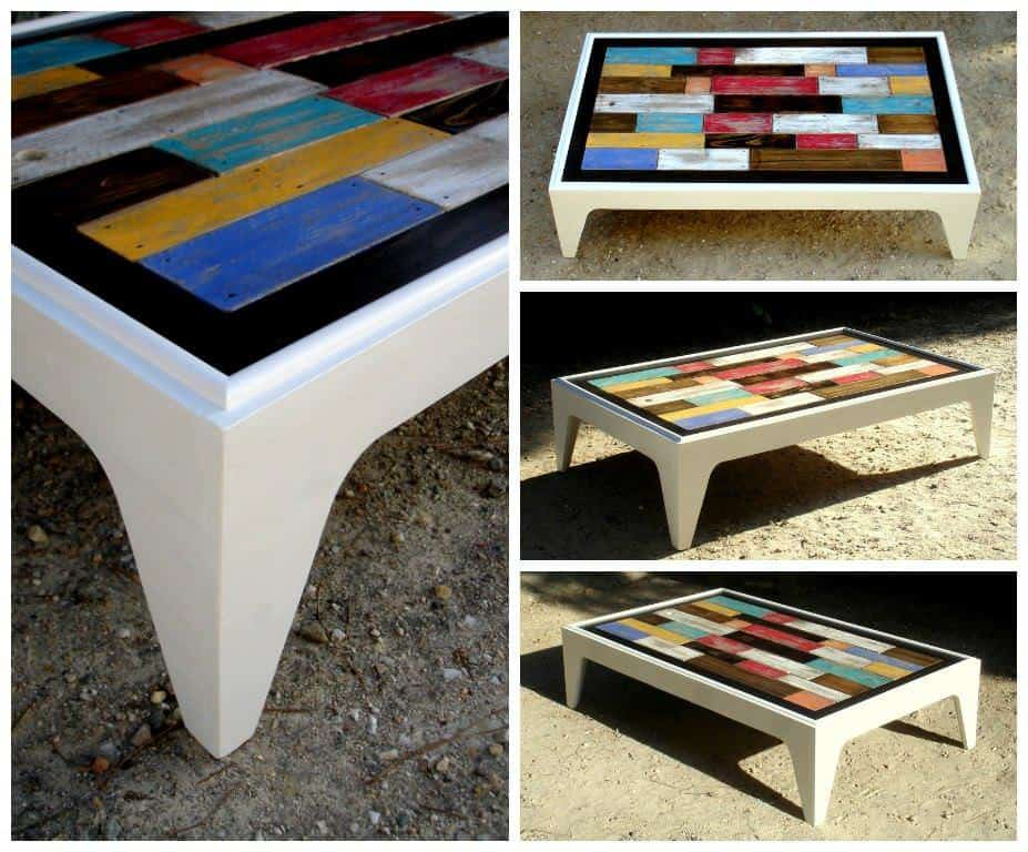 Table basse assemblage chromatique de bois de palettes colored pallet coffe - Table basse bois gris ...