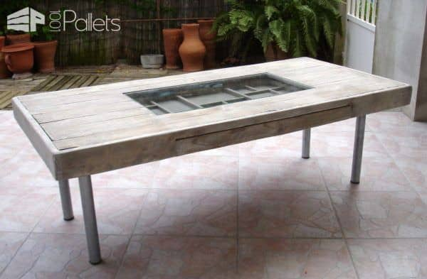 Table basse avec tiroir bricoles coffee table with drawer racks pallet - Tiroir table escamotable ...