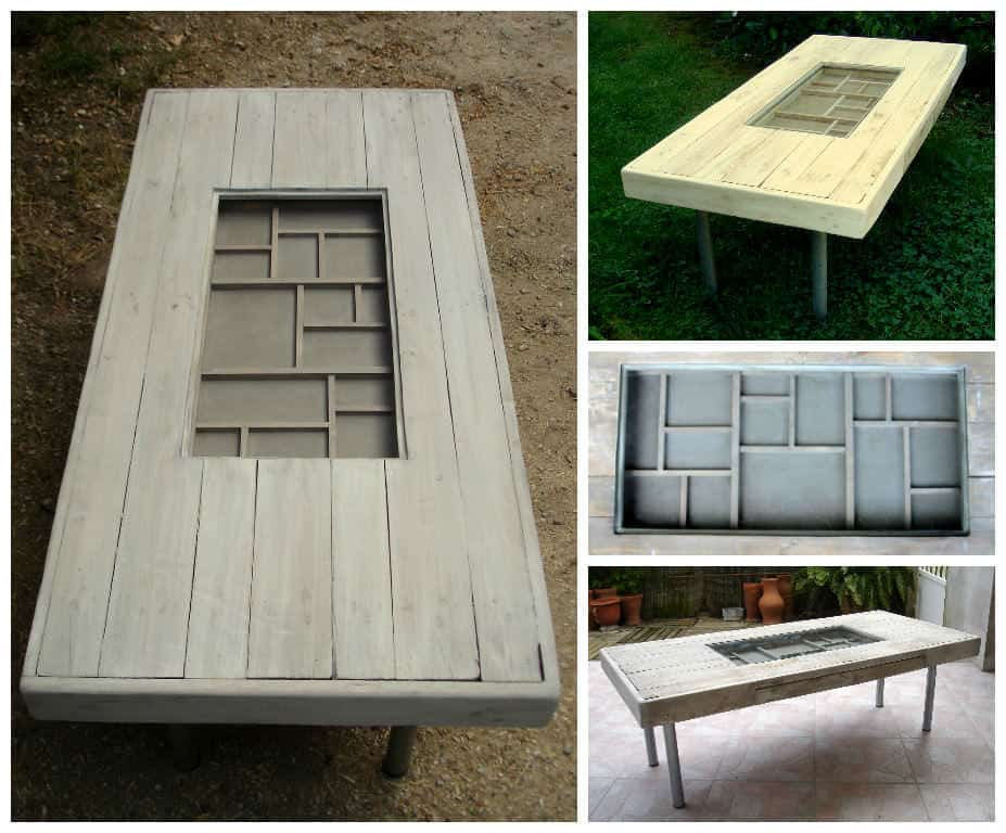 Table basse avec tiroir bricoles coffee table with drawer racks pallet - Table basse a tiroir ...