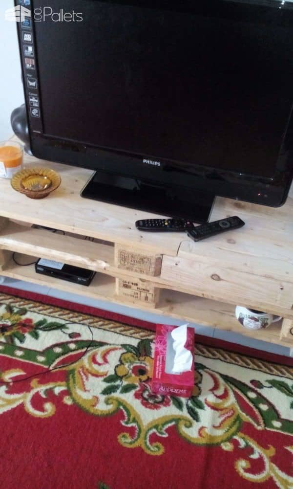 Tv Cabinet With Auto Retractable Drawer Out of 2 Pallets Pallet TV Stand & Rack