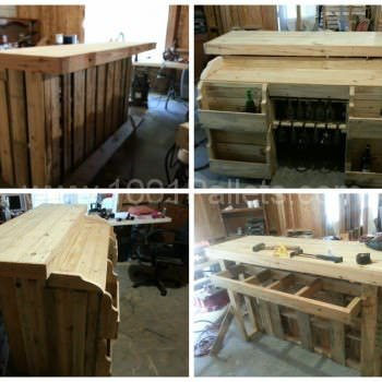 Pallet bar with wine racks, glass holders and lights inside
