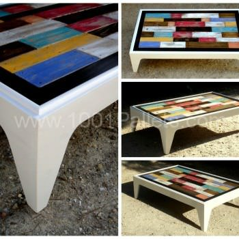 Table basse assemblage chromatique de bois de palettes colored pallet coffe - Table a manger palette ...
