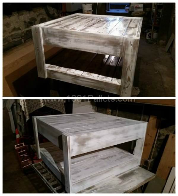 Reclaimed formica coffee table with pallet wood