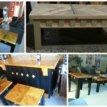 Coffee table, end tables and stool made from pallets