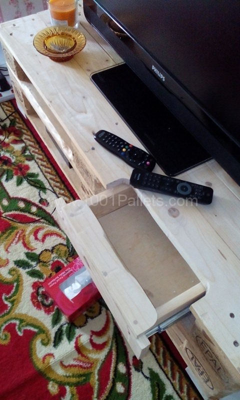 Tv Cabinet With Auto Retractable Drawer Pallet TV Stand & Rack