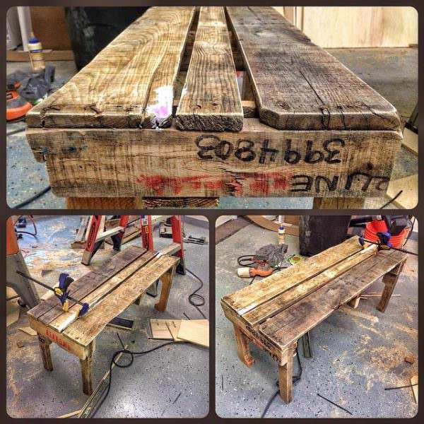 Rustic Garden Bench From Discarded Pallet Planks Pallet Benches, Pallet Chairs & Pallet Stools