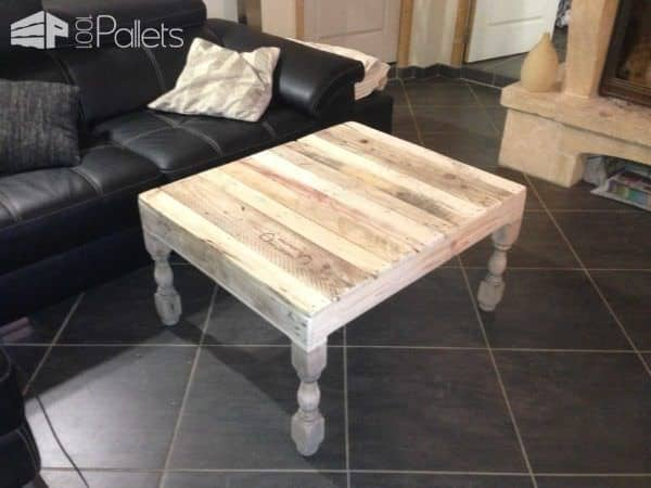 table basse pieds tourn s en ch ne pallet coffee table with oak legs pallet ideas 1001 pallets. Black Bedroom Furniture Sets. Home Design Ideas